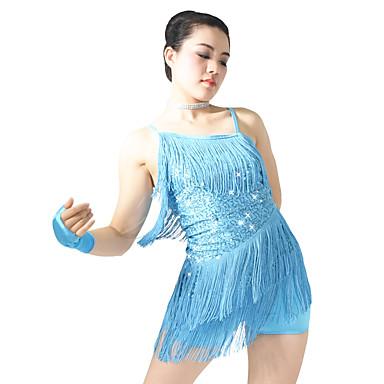 Latin Dansı Elbiseler Kadın's Performans Payetli Likra Payet Dalgalı Yan Drape Püsküllü Kolsuz Düşük Elbise Eldivenler Başlık Şort