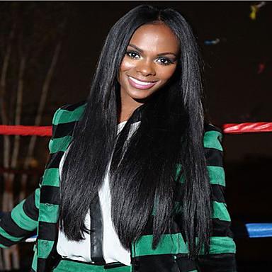Natural Black Soft Brazilian Human Hair Silk Straight Glueless Full Lace For Black Women Wigs No Shedding 8-26 Inch