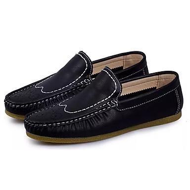 Miesten kengät PU Kevät Syksy Comfort Mokkasiinit varten ulko- Musta Oranssi Khaki