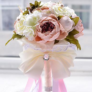 Bryllupsblomster Buketter Bryllup Blonde Silke organza Satin 9.45 tommer (ca. 24cm) 9.84 tommer (ca. 25cm)