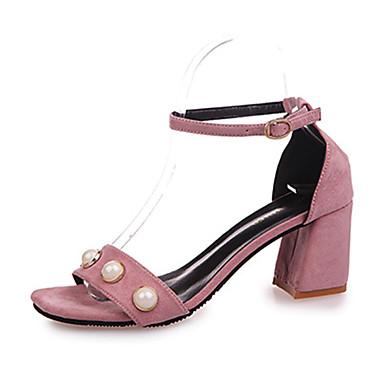 Mulheres Sapatos Camurça Verão Chanel Sandálias Caminhada Salto Baixo Ponta Redonda Miçangas para Casual Preto Cinzento Rosa claro Amêndoa