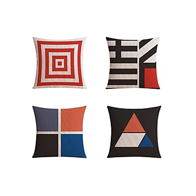 4 pcs Linen Pillow case Sofa Cushion Travel Pillow Body Pillow Bed Pillow Pillow Cover, Geometric Color Block Fashion Geometric Abstract