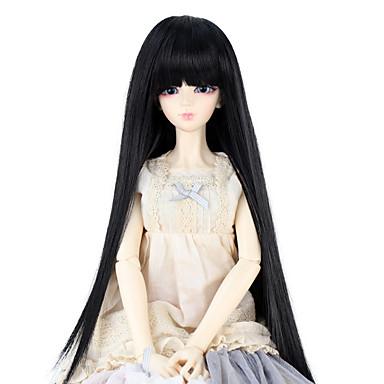 Cabelo Sintético perucas Reto Com Franjas boneca peruca