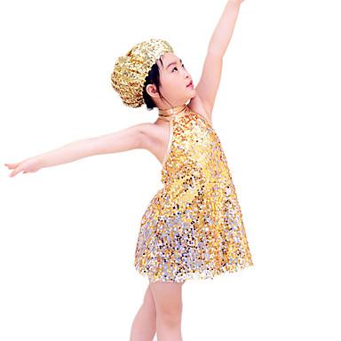 Jazz Tenue Enfant Spectacle Elasthanne Polyester Paillété 3 Pièces Sans manche Taille moyenne Robe Coiffures Short