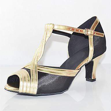 Mulheres Sapatos de Dança Latina Seda Sandália / Têni Presilha Salto Agulha Personalizável Sapatos de Dança Preto / Couro / Profissional