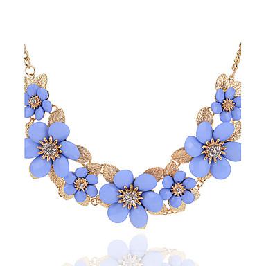 Mulheres Gargantilhas - Flor Floral, Flores Branco, Preto, Azul Claro Colar Para Festa, Aniversário