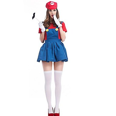 Videogame Cosplay Costume Christmas Halloween Carnival Oktoberfest New Year Festival / Holiday Halloween Costumes Red Green Solid Color