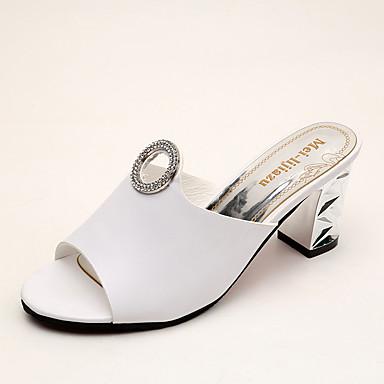 Mulheres Sapatos Couro Ecológico Verão Conforto Sandálias Caminhada Salto Baixo Dedo Aberto Bico Metálico para Ao ar livre Branco Preto