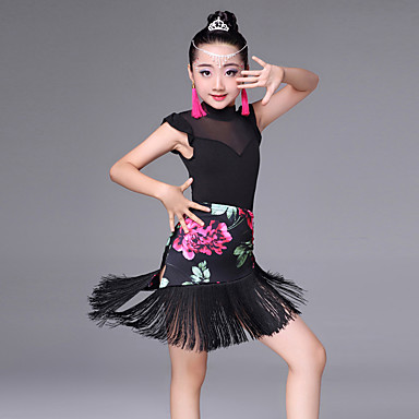 25bf71a90afe Latin Dance Outfits Performance Spandex Tulle Milk Fiber Pattern / Print  Splicing Tassel Sleeveless High Skirts