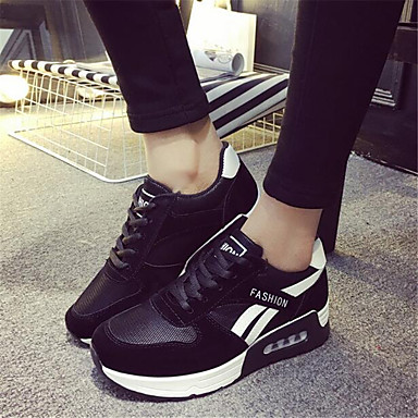 Women's Shoes PU Spring Comfort Sneakers For Casual Black Fuchsia