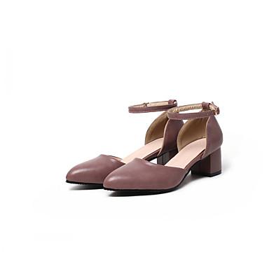 Mulheres Sapatos Couro Ecológico Sintético Verão Outono Inovador Conforto Saltos Caminhada Salto Robusto Ponta Redonda Presilha para