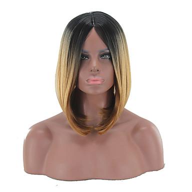 Kvinder Syntetiske parykker Lokkløs Medium Rett Blond Bob med midtskill Bobfrisyre Naturlig parykk costume Parykker