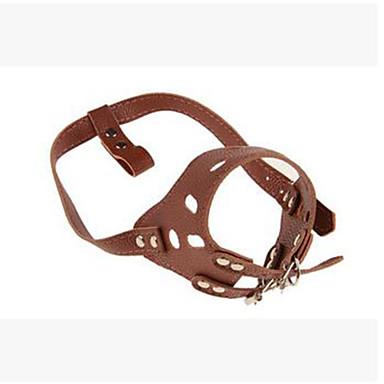 Roedores Cachorro Colarinho Portátil Segurança Ajustável Sólido PU Leather Marron