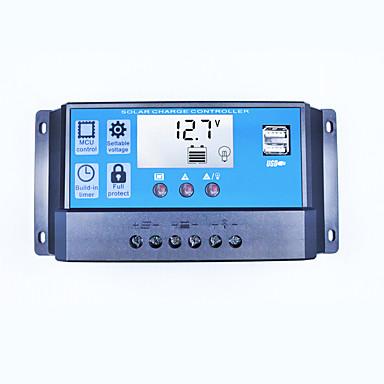 Pwm controlador de carregador solar 40a 12v 24v dual usb 5v 2a saída regulador de painel solar lcd para baterias de chumbo acido aberto