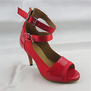 Mulheres Sapatos de Dança Latina Couro Sintético Sandália Cruzado Salto Agulha Personalizável Sapatos de Dança Vermelho / Espetáculo