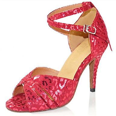 Mulheres Sapatos de Dança Latina Flocagem Sandália Lantejoula Salto Agulha Personalizável Sapatos de Dança Prata / Vermelho / Espetáculo