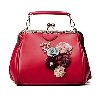 Women Bags All Seasons PU Tote for Casual Outdoor Black Red Blushing Pink