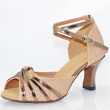 Women's Latin Shoes Glitter Sandal Sparkling Glitter Cuban Heel Customizable Dance Shoes Nude / Performance / Leather
