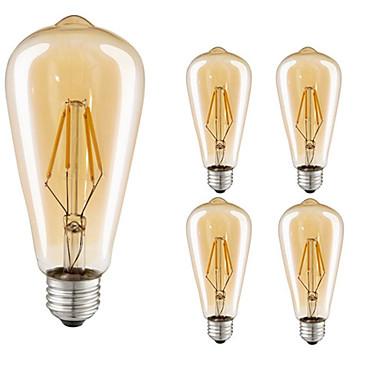 billige Elpærer-5pcs 4 W LED-glødepærer 360 lm E26 / E27 ST64 4 LED perler COB Dekorativ Varm hvit 220-240 V / 5 stk. / RoHs