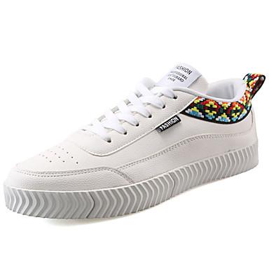 Homens sapatos Couro Ecológico Primavera Outono Conforto Tênis para Ao ar livre Branco Preto Branco / Preto