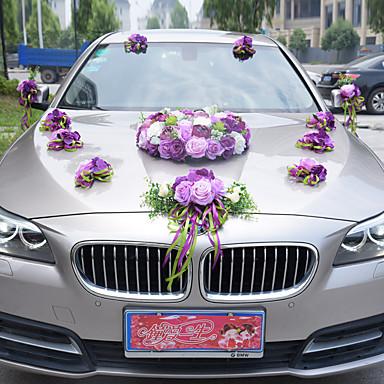 Pink Purple Romantic Floral Wedding Car Decoration
