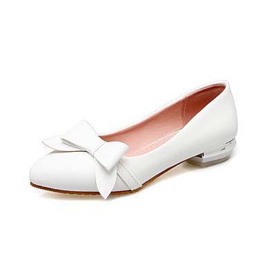 Mulheres Sapatos Courino Primavera Verão Conforto Saltos Caminhada Salto Baixo Ponta Redonda Presilha para Casual Social Branco Preto