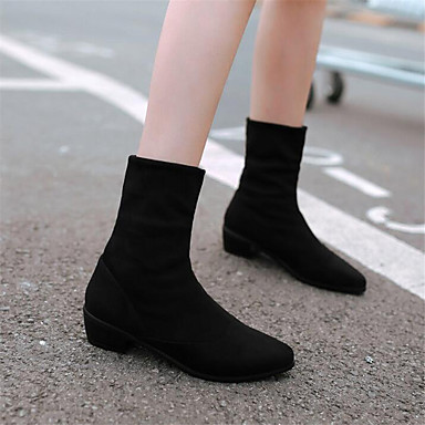 Women's Shoes PU Spring Comfort Boots Wedge Heel For Casual Black