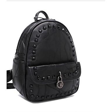 Women Bags All Seasons Sheepskin Backpack for Casual Black