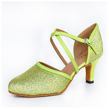 Dame Moderne Glimtende Glitter Silke Høye hæler Innendørs Spenne Grønn 6 cm 7,5 cm 8 cm Kan spesialtilpasses