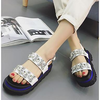 Naiset Sandaalit Comfort PU Kevät Kausaliteetti Comfort Valkoinen Musta Tasapohja
