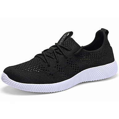 Men's Athletic Shoes Comfort Summer Fall Fabric Walking Shoes Casual Lace-up Flat Heel Black Blue Flat