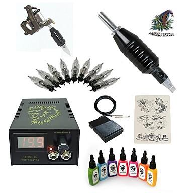 Tattoo Machine Starter Kit - 1 pcs Tattoo Machines with 7 x 15 ml tattoo inks LCD power supply 1 steel machine liner & shader