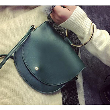 Women Shoulder Bag PU All Seasons Casual Outdoor Square Snap Green White Black