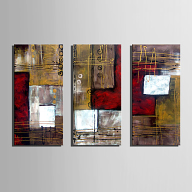 Pintura a Óleo Pintados à mão - Abstrato Retro Tela de pintura 3 Painéis