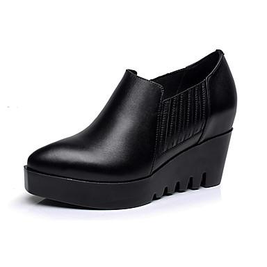 Naiset Kengät Nahka Kevät Syksy muodollinen Kengät Korkokengät Paksu korko Pointed Toe varten Musta