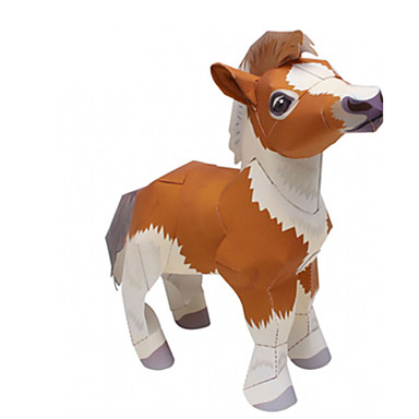 Quebra-Cabeças 3D Maquetes de Papel Artesanato de Papel Brinquedos de Montar Quadrada Cavalo 3D Animais Simulação Faça Você Mesmo Cartão
