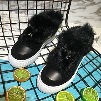 Naiset Mokkasiinit Comfort Nahka Talvi Kausaliteetti Comfort Valkoinen Musta 1-1,75in
