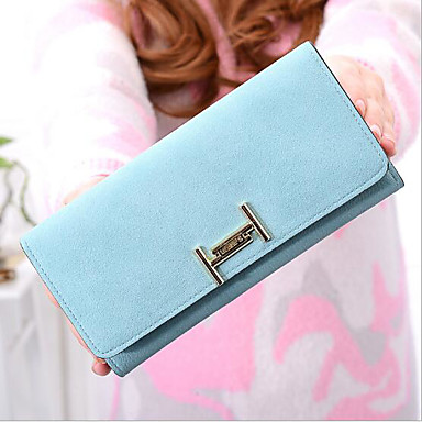 Women Coin Purse PU All Seasons Rectangle Zipper Blue Blushing Pink Gray
