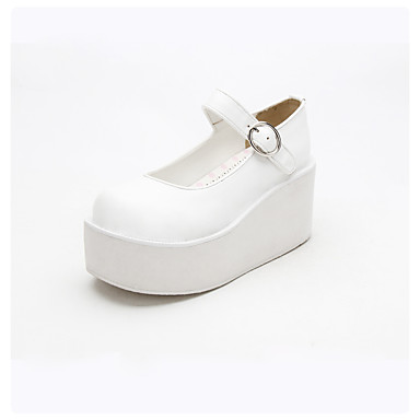 Sapatos Lolita Clássica e Tradicional Punk Confeccionada à Mão Lolita Salto Plataforma Côr Sólida Lolita 8cm CM Branco Para PU Leather