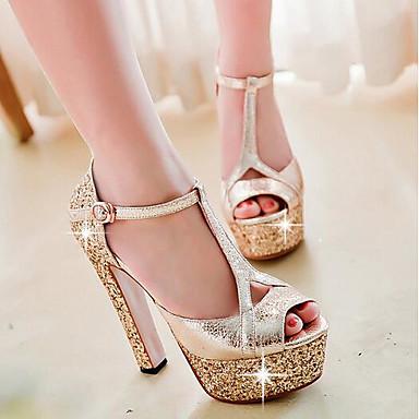 Damen Schuhe PU Sommer Komfort Sandalen für Hochzeit Normal Party & Festivität Gold Silber