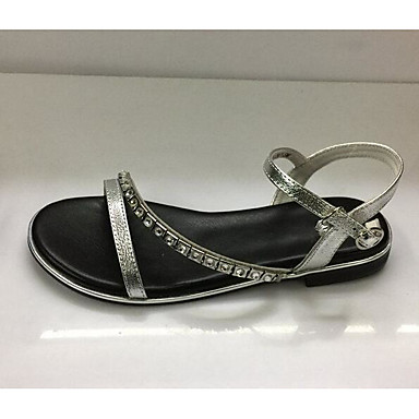 Women's Sandal Comfort Summer Suede Casual Black Silver Flat