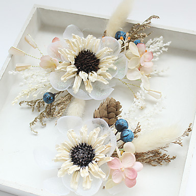 Chiffon / Basketwork / Lace Flowers / Hair Clip with 1 Wedding / Special Occasion / Birthday Headpiece