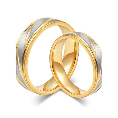 Casal Anéis de Casal Dourado Rosa ouro Aço Titânio Redonda Elegant Estilo simples Casamento Aniversário Festa Noivado Diário Cerimônia