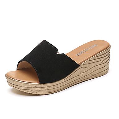 Mulheres Sapatos Couro Ecológico Primavera Verão Rústico Conforto Sandálias Salto Plataforma Dedo Aberto para Diário Para Noite Branco