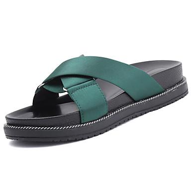 Mulheres Sapatos Borracha Verão Conforto Sandálias Caminhada Sem Salto para Ao ar livre Preto Verde