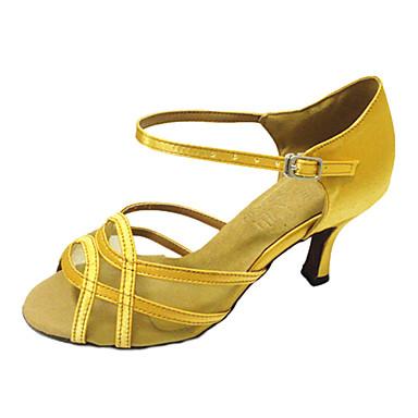 Mulheres Sapatos de Dança Latina Courino Sandália / Têni Presilha Salto Baixo Personalizável Sapatos de Dança Amêndoa / Couro