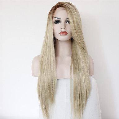 Synthetic Lace Front Wig Straight Blonde Synthetic Hair Ombre Hair Blonde / Brown Wig Women's Long Lace Front