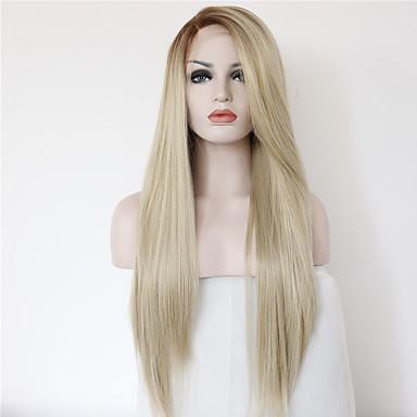 Synteettiset hiukset Peruukit Suora Liukuvärjätyt hiukset Luonnollinen peruukki Pitkä Vaaleahiuksisuus
