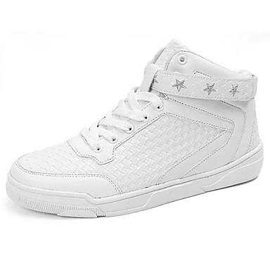 Herre sko PU Vår Høst Komfort Treningssko Snøring til Avslappet Hvit Svart Rød