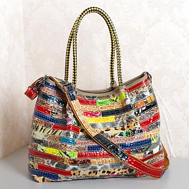Women's Bags Cowhide Shoulder Bag Split Joint Rainbow